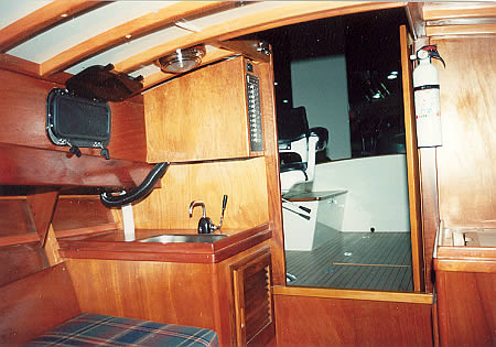 In The Liza Bee Looking Through Companionway Into Cockpit Owner Chose Teak Sole With Flush Hatches For His Boat