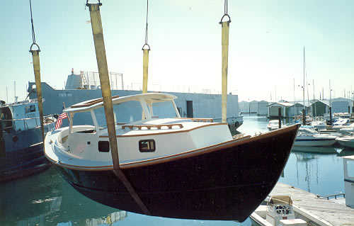 Custom wood boatbuilding the St. Pierre Dory launch