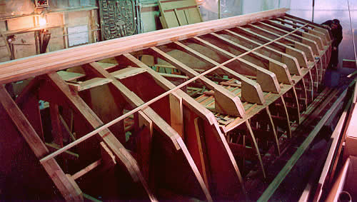 this boat like our other v bottom hulls was built using a stringerframe system in this system transverse frames are erected in this case on 20