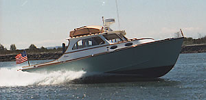 A fast wooden lobster style boat